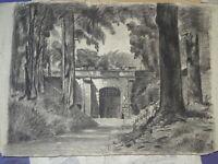 Ecole FRANCAISE XIX GRAND DESSIN PAYSAGE FORET ARCHITECTURE FORT LORRAINE ? 1870