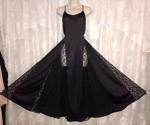 VTG PETRA 2X BLACK FULL SWEEP NYLON Nightgown olga esque Inset Lace Panels