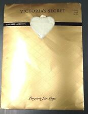 Victoria Secret Silky Sheer Lace Panty Top Pantyhose Cream Small