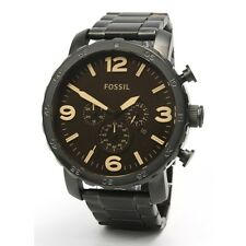 Fossil Nate Mens JR1356 Matte Black Chronograph Stainless Steel Watch