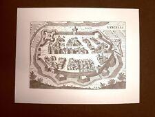 Antica veduta della città di Vercelli Incisione del '600 Ristampa