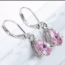 925 Sterling Silver Pink Sapphire Dangle TearDrop Earrings