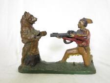 J&E Stevens Cast Iron Mechanical Bank Indian Shooting Bear Lot 231