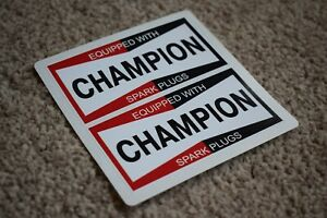 CHAMPION Spark Plugs Classic Race Car Stickers Decals Racing Bike F1 Red 50mm