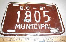 1981 British Columbia Canada BC MUNICIPAL MOTORCYCLE License Plate Tag