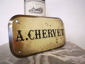 Vintage French Brass Metal SIGN A CHERVET Wall Name Plaque Advertising Cafe Bar