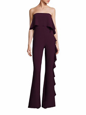 BRAND NEW ALEXIS PLUM KENDALL RUFFLE COCKTAIL EVENING PARTY JUMPSUIT XS NWT