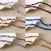 Wholesale 30/50/100Pc Faceted Glass Crystal Bicone Loose Spacer Beads 4-8MM DIY