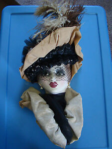 Unique Creations LTD Edition Porcelain Mask Woman w/ Fancy Hat Feathers 121629