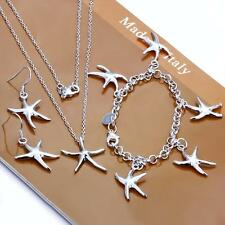 925 Silver filled Starfish Necklace Bracelet Earrings Fashion Jewelry Set Gift