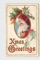 ANTIQUE POSTCARD CHRISTMAS XMAS GREETINGS SANTA RED HOOD WHITE BEARD HOLLY GOLD