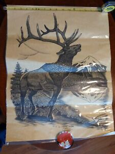 "1988 ART MT Hood Elk Drawing by SHANE SLAYER 17.5"" x 22.5"" Oregon Outside Artist"