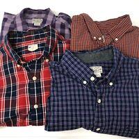 J Crew Men's Large Cotton Plaid Button Front Long Sleeve Shirts lot of 4 shirts