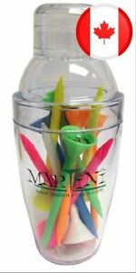 """Martini Golf Mini Shaker with 3-1/4"""" Durable Plastic Tees 12-Pack of Assorted Co"""