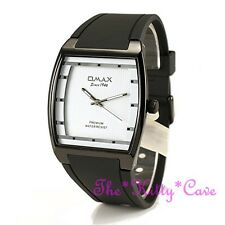 OMAX Slim Black & White Sporty Seiko Movt Square Unisex Watch 4 Yr Warranty D006
