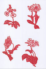 Paper Cuts 8 Wild Flower Set Red Color small single pieces 1 packet Lot