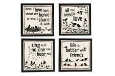 Vintage Wood Slogan Quote Table Drink Coaster Set Shabby Chic Home Friends Gift