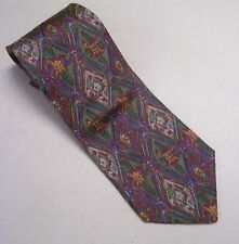 Valentino Cravatte Mens Neck Tie #133 Floral Green Blue Purple Gold Flower Italy
