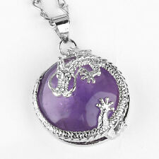 Silver Plated Amethyst Crystal Stone Jewelry Dragon Half Ball Focal Pendant