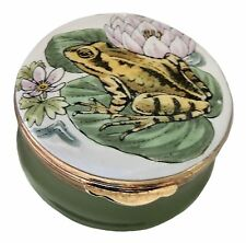Crummles Enamels Green Frog on Lily Pad