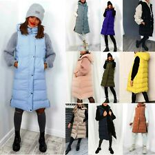 Women Ladies Hooded Long Zip Up Puffer Coat Padded Vest Gilet Jacket Body Warmer