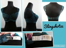 """32DDD"" *Chantelle 419* Green/Teal Embroidered Sheer Unlined UW Balconette Bra"
