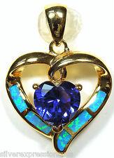 chapado en oro plata de ley 925 , Tanzanita & Azul Ópalo De Fuego Incrustación