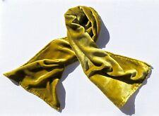 """Silk Velvet Scarf in GOLDEN OLIVE GREEN Handmade 12x42"""""""