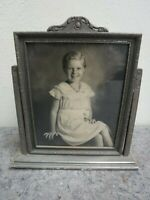 Nice Antique Standing Wood Frame With Photo of Young Girl