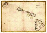 Map 1837 Kalama Hawaiian Islands Hawaii Maui Oahu Kauai Replica Canvas Art Print