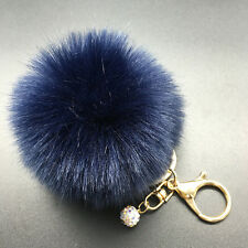 Rabbit Fur Fluffy Pompom Ball Handbag Car Pendant Charm Key Chain Keyrings 8CM