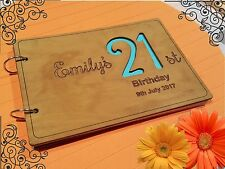 Personalized A5 size,Wooden Birthday Guest Book,  stained, varnished, party, age