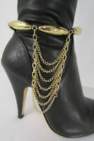 Women Trendy Fashion One Boot Shoe Gold Strap Chain Big Beads Gold Charm Strap
