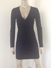 Versace Lbd Sexy V Neck Wool Cotton Stretch Black Dress Size 44 Sheer Insets