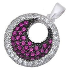 """Pave Rose Pink & Cz .925 Sterling Silver Pendant .75""""x.5"""" long"""