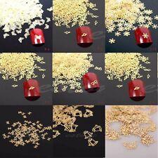 100Pcs 3D Design Nail Art Decoration Stickers Metallic Studs Golden Phone DIY