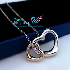 9ct 9k white rose gold filled GF double heart plain women necklace