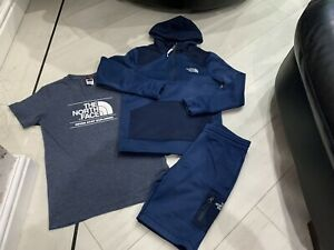 Boys Designer North Face Outfit Jacket Shorts & Top Size LG Boys Age 10 Years