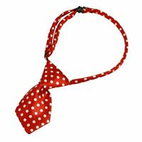 Pet Dog Cat Collar Bow Tie Necktie Accessory White Dots Decoration Red N3