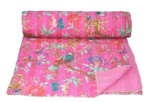 Indian Embroidery Kantha Quilt Bedspread Floral Throw Cotton Pink