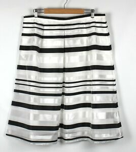 CITY CHIC Skirt Size S 14 Sheer Metallic Striped White Black Silver Fully Lined