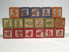 1930's MICKEY MOUSE SAFETY BLOCKS, ALPHABET, HALSAM, WOOD, INCOMPLETE