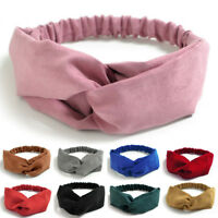 Faux Suede Twist Knot Headband Elastic Wrap Turban Hair Band Clasp Headwrap Gift