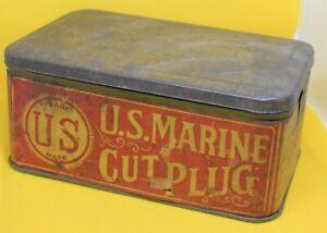 Vintage US Marine Cut Plug tobacco tin HTF