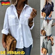 Damen Hemdbluse Longbluse Knopf Langarm Longshirt Tunika Tops Oberteil Übergröße