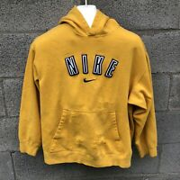Vintage Embroidered Nike Swoosh Hoodie Pullover Thrashed Yellow Youth XL Small S
