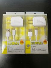 x10 Universal 2in1 Travel Charger Dual USB Type C  3.1 AMP / 5 foot Cable-White