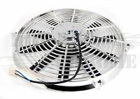 "14"" Chrome 1750 CFM Radiator Straight Blades Electric Fan 12V  Street Rod"