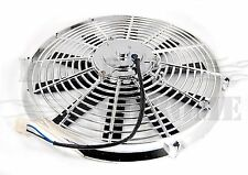 """14"""" Universal Radiator Cooling Fan With Straight Blades 12V Reversible Chrome"""