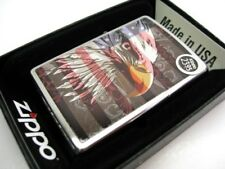 ZIPPO Brushed Chrome American FLAG & BALD EAGLE Classic Windproof Lighter! 28652
